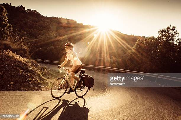 Woman on solo bicycle road trip