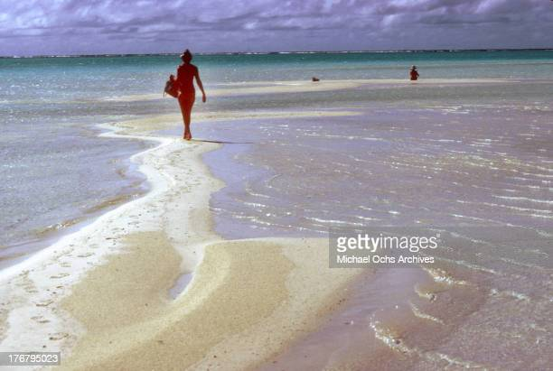 A woman on the beach in May 1980 on Tetiaroa Island
