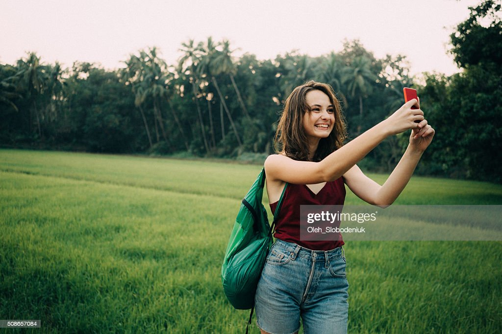 Woman on the rice field : Stock Photo