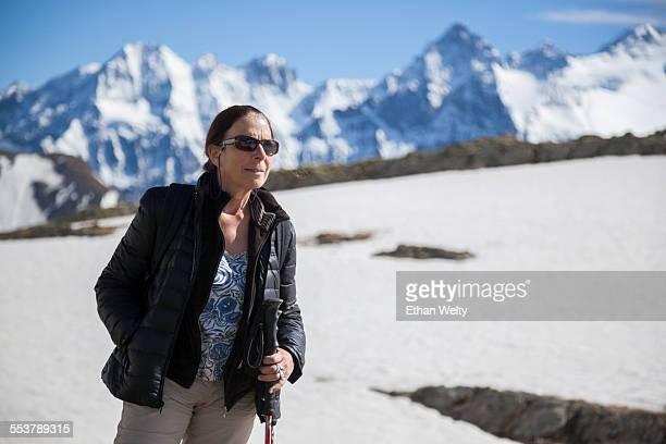 A woman on the Roche de Casse above the Refuge du Golon, Hautes-Alpes, France.