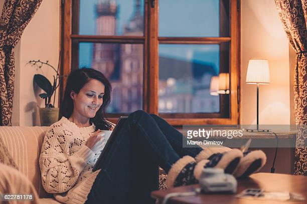 Woman on the sofa watching tv