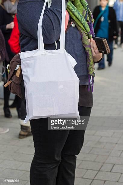 Woman on the street  with reusable bag