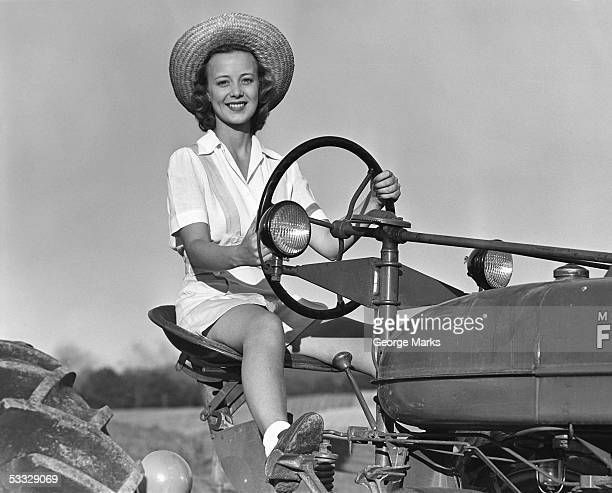 Woman on tractor