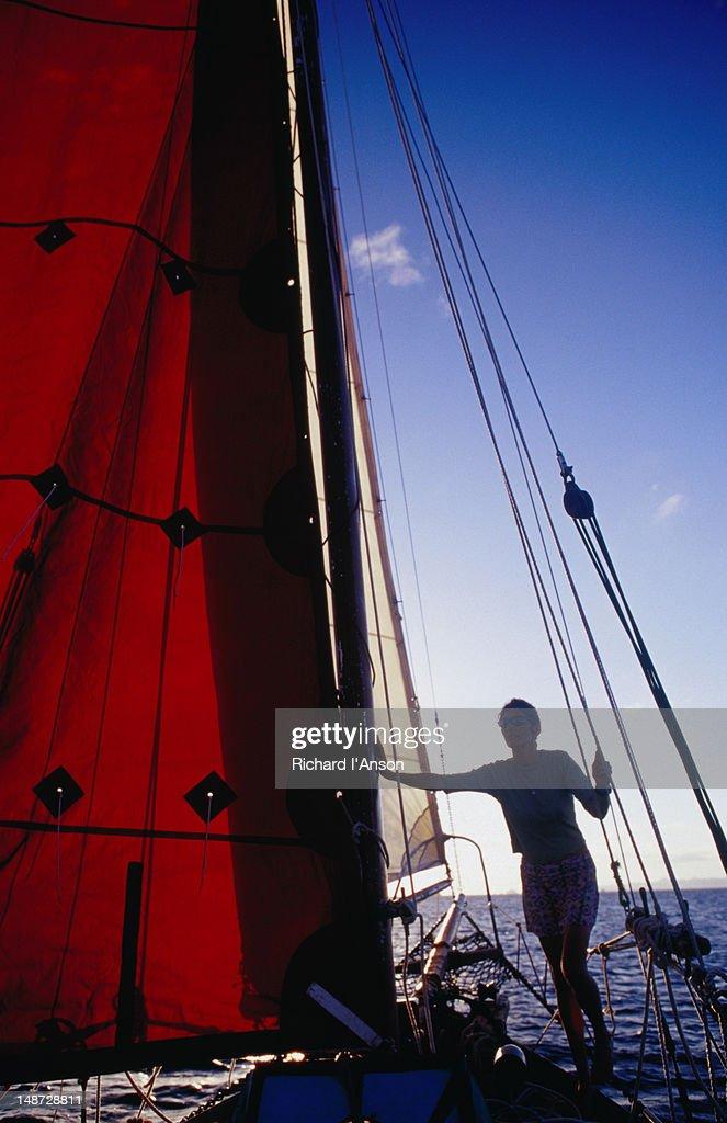 Woman on yacht on Caribbean Sea off St Barts.