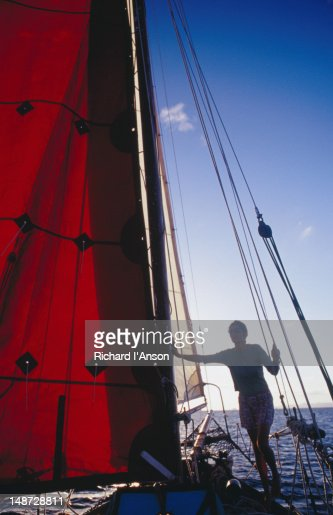 Woman on yacht on Caribbean Sea off St Barts.