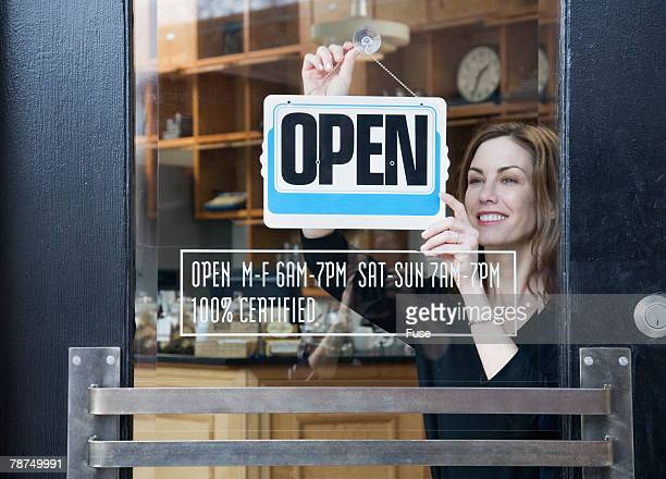 Woman Opening a Coffee Shop