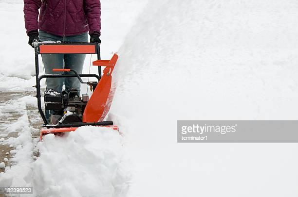 Frau Betrieb Schneepflug