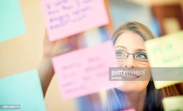 Woman organizing her ideas