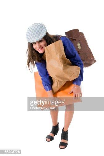 Woman out shopping : Foto de stock