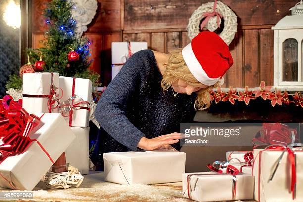 Frau Verpackung Weihnachten Boxen