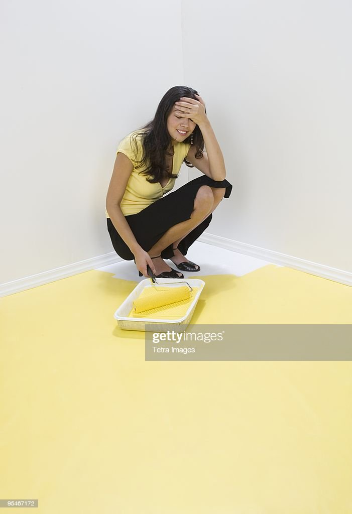 Woman painted herself into a corner