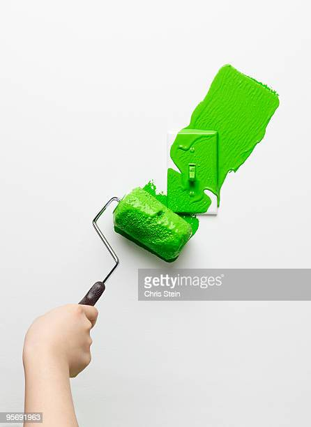 Woman painting a light switch