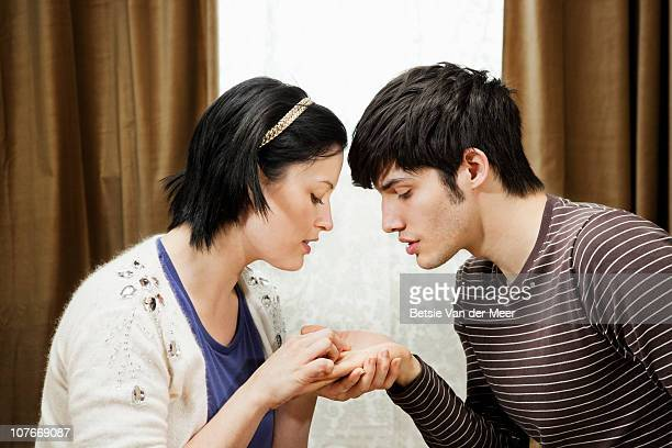Woman palm reading future  of boyfriend.