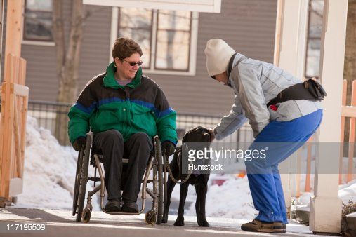 Woman pampering the service dog of her friend with multiple sclerosis : Stock Photo