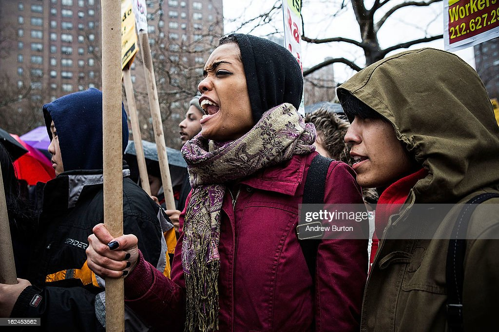 A woman participates in a chant during a march against police stop-and-frisk tactics on February 23, 2013 in New York City. The march, which consisted of a few hundred people, started in the Bronx borough of New York and marched into the Harlem neighborhood of Manhattan.