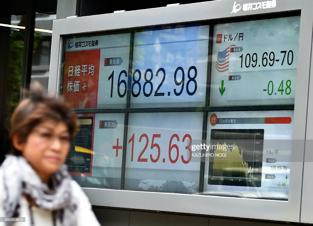 A woman passes a share prices board and a foreign exchange rate board against the US dollar in Tokyo on May 26, 2016. Tokyo shares opened sharply higher on May 26, building on the previous day's gains driven by rising oil prices, with markets eyeing the start of a Group of Seven leaders' summit in Japan. / AFP / KAZUHIRO