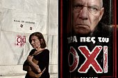 A woman passes by the headquarters of Bank of Greece daubed with the word 'NO' and a poster with a portrait of German Finance Minister Wolfgang...
