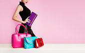 Isolated on cute pastel pink. All bags are our original products.