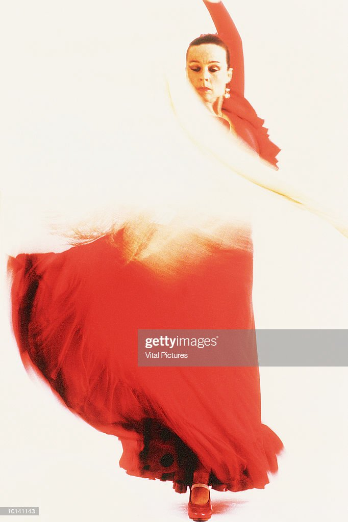 Woman performing flamenco dance, Spain