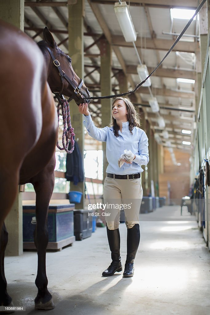Woman petting her horse in the stable : Stock Photo