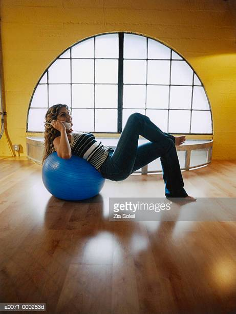 Woman Phoning While Exercising