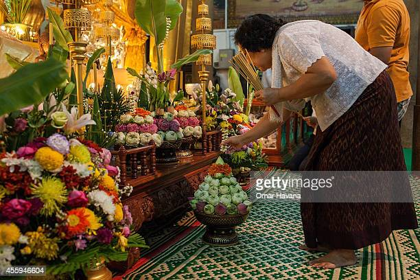 A woman places a flower on the main altar in Wat Lang Ka pagoda during Pchum Ben festival on September 23 2014 in Phnom Penh Cambodia Pchum Ben or...