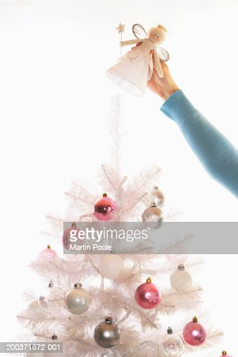 Woman placing angel on top of fake white Christmas tree, high section : Stock-Foto