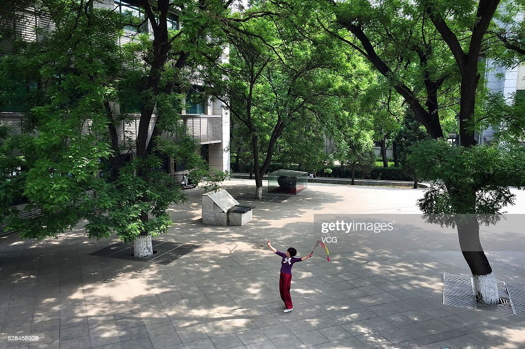 A woman play Tai Chi softball on May 5, 2016 in Beijing, China.
