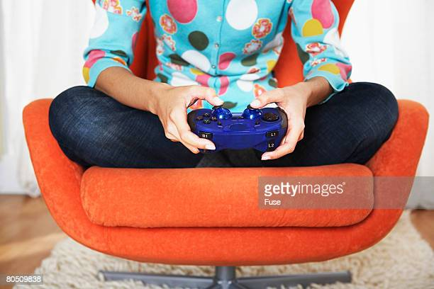Woman Playing a Video Game