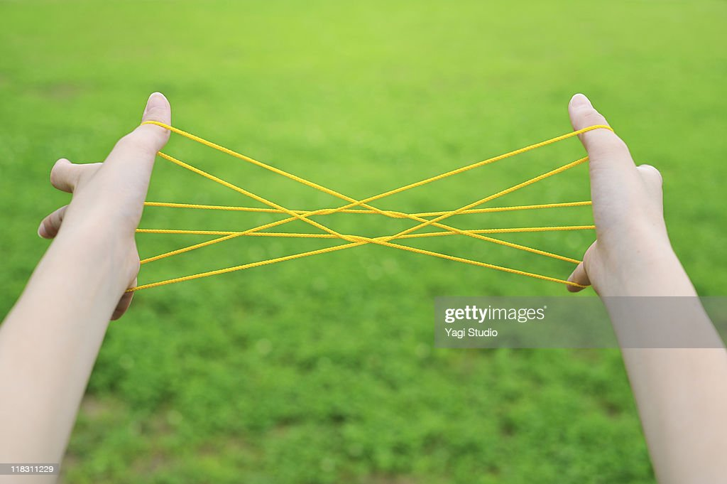 Woman playing cat's cradle,close-up of the hand : Stock Photo