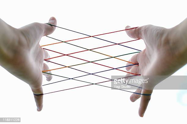 Woman  playing cat's cradle,close-up of the