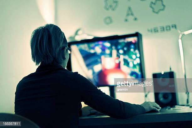 Woman playing computer games