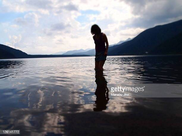 Woman playing in Lake Saiko