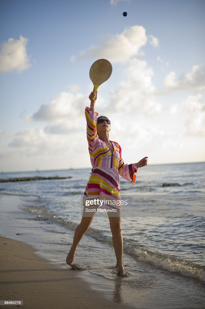 Woman playing on the beach in Cozumel,  : Stock Photo