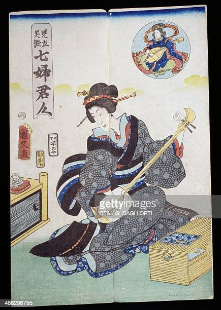 Woman playing shamisen 19th century Kabuki theatre ukiyoe art print woodcut Japanese civilisation Edo period 17th19th century