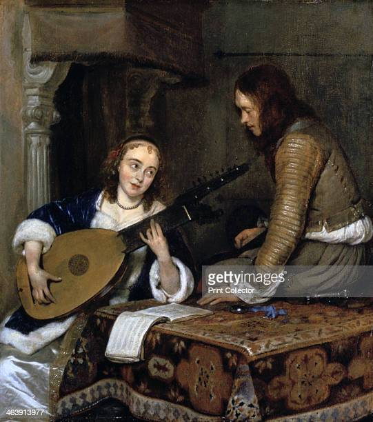 'A Woman Playing the TheorboLute and a Cavalier' c1658 From the Metropolitan Museum of Art New York USA