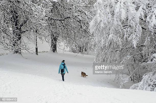A woman plays with her dog on the Castle grounds on January 14 2017 in Ljubljana Slovenia Most of Slovenia was covered by heavy snowfalls for the...