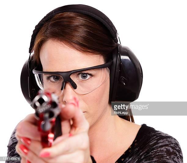 Woman Pointing a Gun on White Background