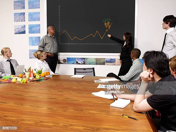 woman pointing at growth chart of carrots