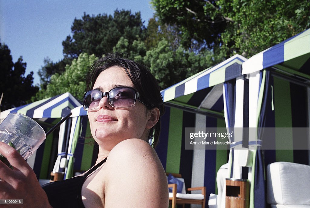 Woman Poolside in Los Angeles : Stock Photo