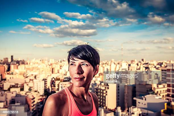 Woman portrait above the city