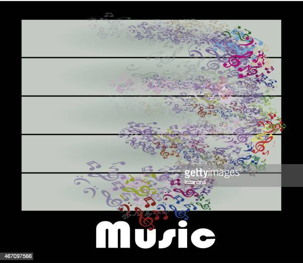 Woman portrait silhouette in music notes make