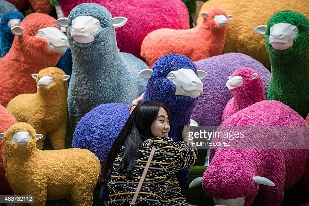A woman poses in front a multi coloured sheep installation displayed in a shopping mall for the Chinese New Year celebrations in Hong Kong on...