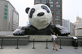 A woman poses in front of the 15metertall panda sculpture on the Chengdu IFS building on July 25 2016 in Chengdu Sichuan Province of China The...