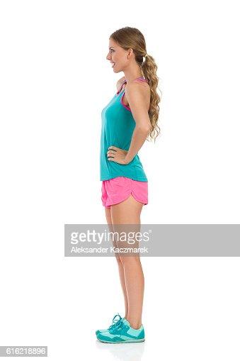 Woman Posing In Sport Clothes Side View : Bildbanksbilder