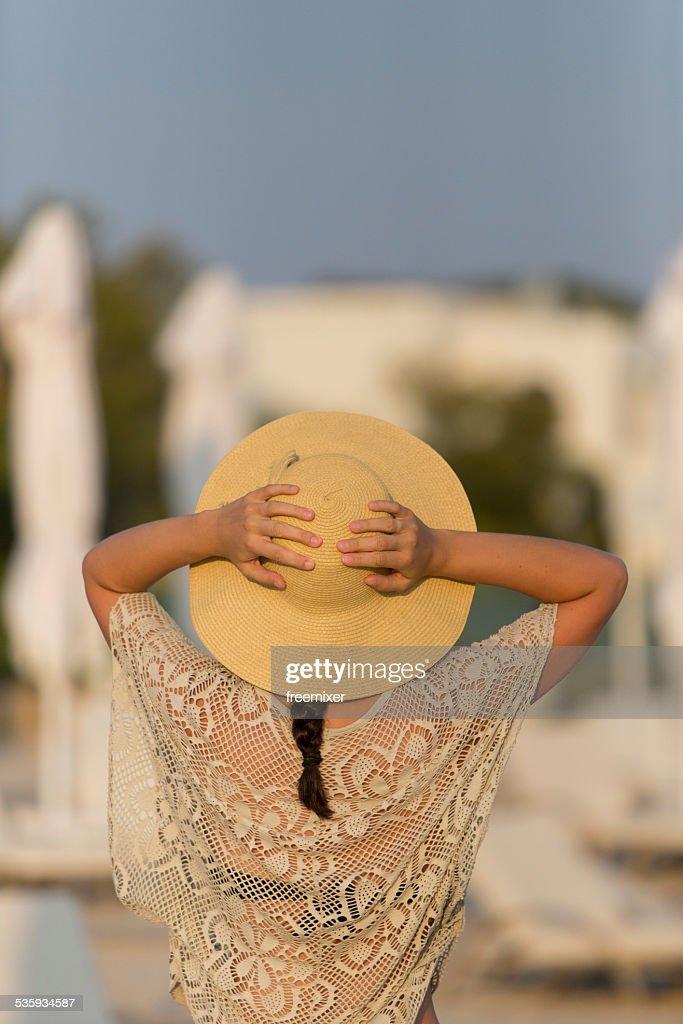 Woman posing on a tropical beach : Stock Photo