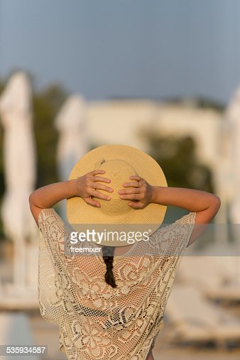 Woman posing on a tropical beach : Stock Photo