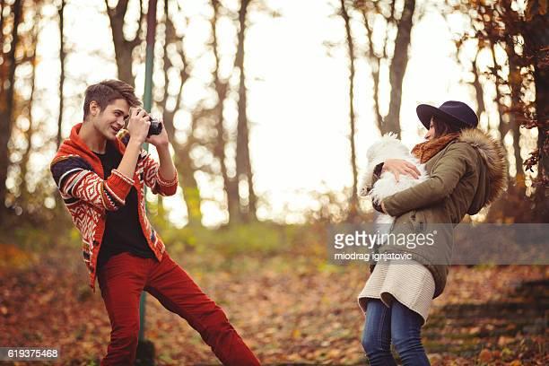 Woman posing to her boyfriend