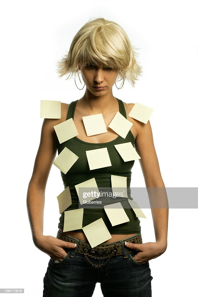 Woman Posing with Sticky Notes All Over Her Torso : Stock Photo