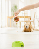 Woman Pouring Dog Food